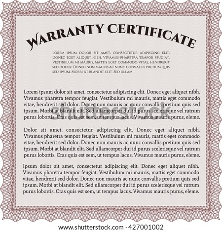 Template Warranty Certificate Border Frame Superior Design