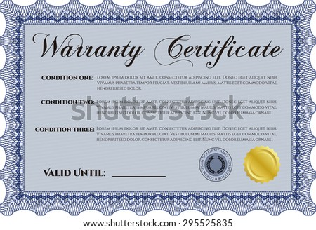 Template Warranty certificate. Complex border. Very Detailed. With sample text.