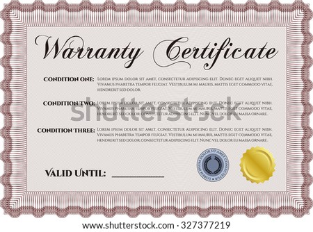 Template Warranty certificate. Vector illustration. Complex design. With sample text.