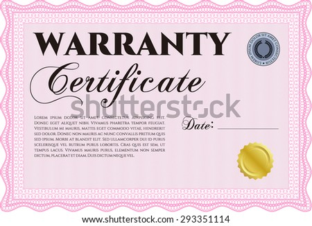 Template Warranty certificate. Very Customizable. With sample text. Complex frame design.