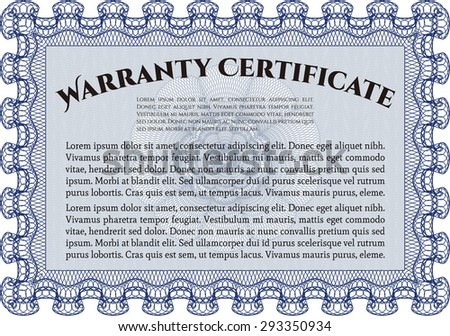 Template Warranty certificate. Very Detailed. With background. Complex design.