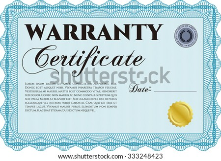 Template Warranty certificate. With complex background. With sample text. Retro design.