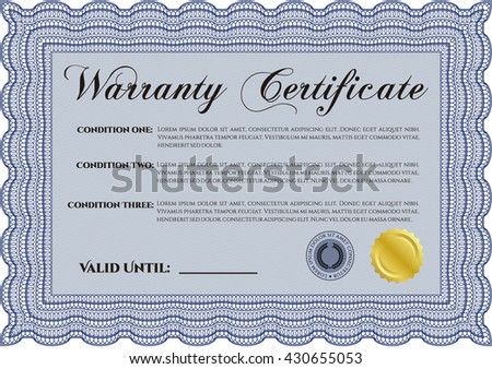 Template Warranty certificate. With quality background. Border, frame. Superior design.