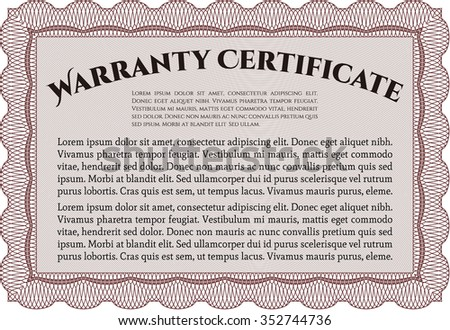 Template Warranty certificate. With sample text. Complex border design. Very Customizable.