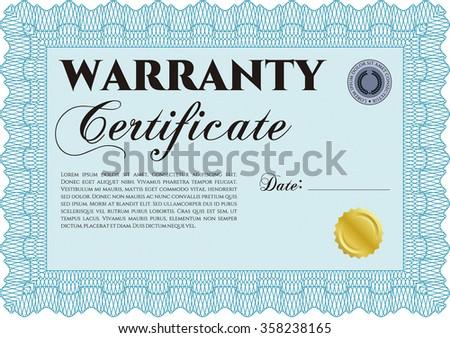 Template Warranty certificate. With sample text. Retro design. Complex frame design.