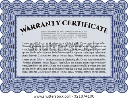 Template Warranty. Vector illustration. Complex border design. With sample text.