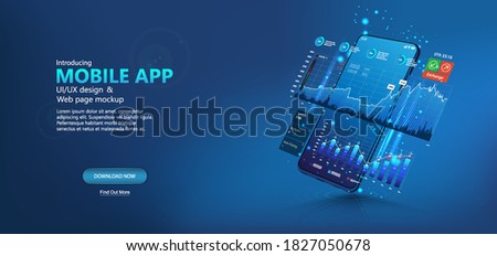 Template web page - online statistic, data Analytics and finance and trading mobile app. Smartphone app and UI, UX, KIT presentation mobile application. Analysis trends and financial strategy. Vector