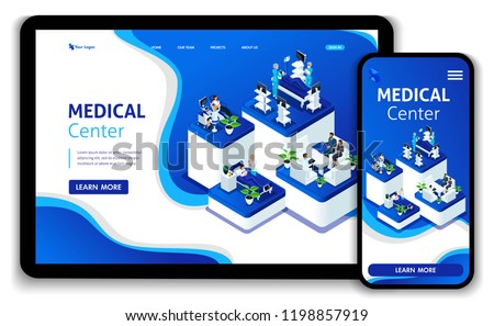 Template Website Isometric Landing page concept Doctor diagnosing patient in a hospital. Medical Center. Easy to edit and customize, Responsive