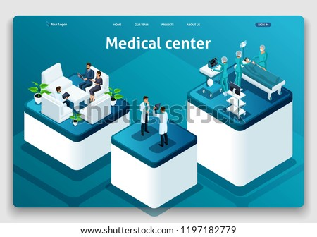 Template Website Isometric Landing page concept Medical hospital. Doctor diagnosing patient in a hospital. Easy to edit and customize.