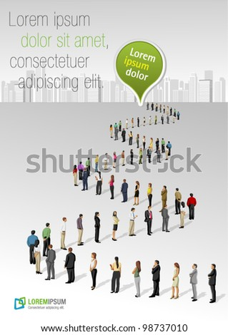 Template with a crowd of business people standing in a line