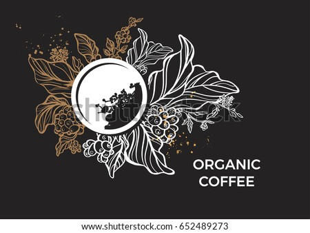 template with branch of coffee