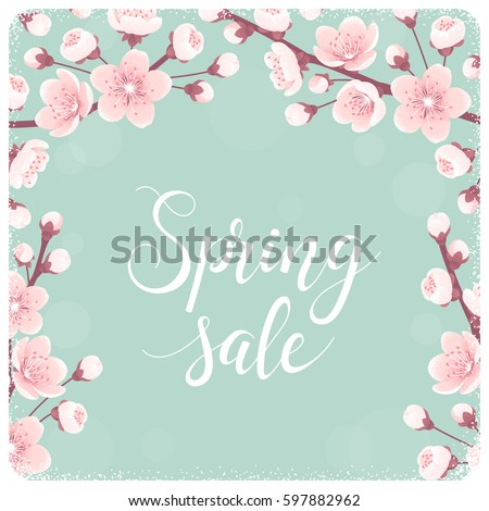 template with cherry blossom