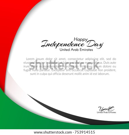 Template with colors of the national flag of United Arab Emirates (UAE) with the text of Happy National Day and Independence Day UAE For greeting card banners stickers on holiday Background Vector