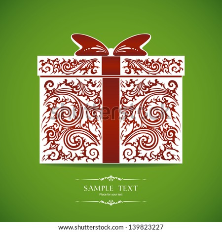 Template with decorative gift box