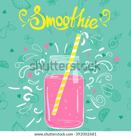 Template with doodle style smoothie in a jar
