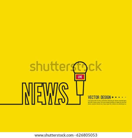 Template with microphone. Symbol breaking news on TV and radio.