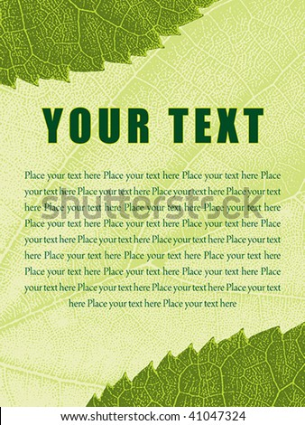 Template with ragged leaf texture background and editable text fields - stock vector