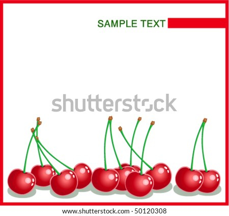 Template with ripe cherries on a white background with place for text
