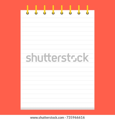 Template with spiral notebook. School notebook. Diary for business. Vector illustration.