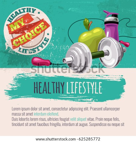Template with sports equipment and healthy food. Diet and sport. Healthy lifestyle my choice