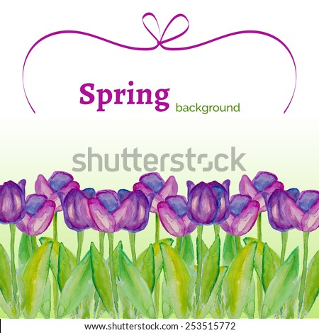 Template with spring flowers with watercolor texture. Spring background with purple tulips. Spring sale. Poster with spring flowers. Vector floral illustration. Spring season.