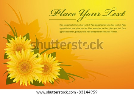 Template with sunflowers, EPS 8, CMYK.