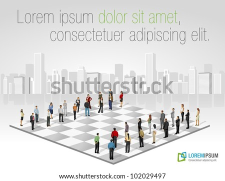 Template with two groups of business people on chess board