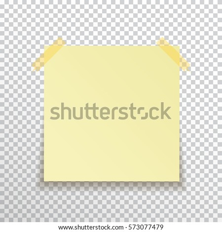 Template yellow sticky note with sticky tape isolated on transparent background. Vector, eps10.