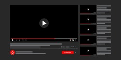 Template Youtube video player. Social media content. Desktop interface dark version, ui. Vector illustration.