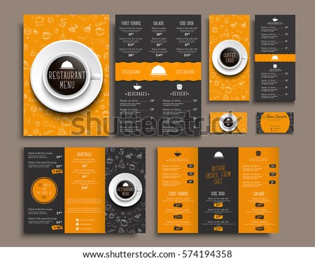 Templates business cards, A4 menu, folding brochures and flyers narrow for a restaurant or cafe. The design of black and orange colors, with drawings by hand and a cup of coffee the top view. Set.