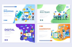 Templates design for online shopping, analytics, digital marketing, teamwork and business strategy. Mobile website development vector illustration concepts. Modern set of