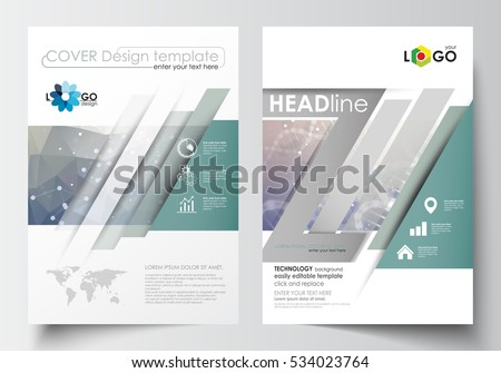 Templates for brochure, magazine, flyer, booklet. Cover design template, easy editable blank, flat layout in A4 size. DNA molecule structure on blue background. Scientific research, medical technology
