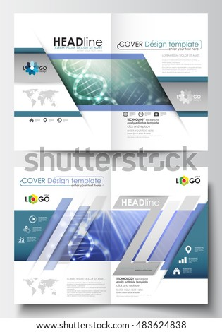 Templates for brochure, magazine, flyer, booklet. Cover design template, easy editable flat layout in A4 size. DNA molecule structure, science background. Scientific research, medical technology.