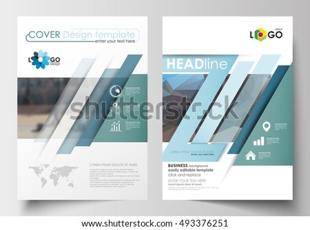 Templates for brochure, magazine, flyer, booklet or annual report. Cover design template, easy editable blank, flat layout in A4 size. Abstract business background, blurred image, urban landscape