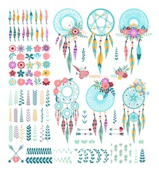 Templates for greeting cards and scrapbooking. Floral design set. A set of dream catchers, arrows, flowers, leaves. American culture design.