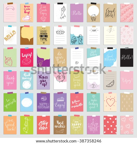 Templates for greeting scrapbooking, planner, congratulations, stickers and invitations. Posters set. Scrapbooking cards set.