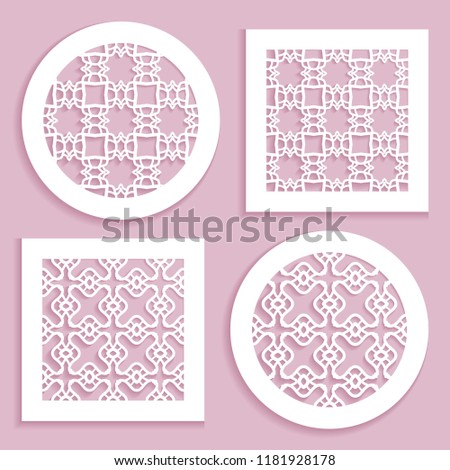 Templates for laser cutting, plotter cutting, printing. Round and square line patterns. Geometric design cut out of paper. Mandala Islamic die cut ornament. Fretwork panels, cutout silhouette stencils