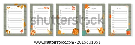 Templates for to-do list, wish list, check list  and shopping list decorated with autumn elements. Set of agenda blank lists for daily planning with place for Notes. Vector illustration, doodle style