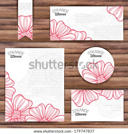 Templates of company identity with red leaves on wood background #179747837