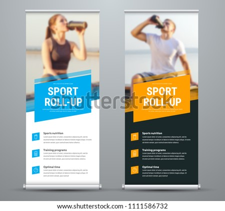 Templates of vector white and black roll-up banners on the theme of sport and sports nutrition, with a place for photos. Universal design with blue and orange diagonal elements. Set
