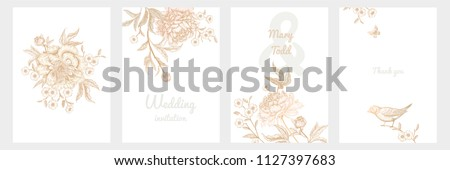 Templates of wedding invitations set. Decoration with birds and garden flowers by peonies. Floral vector illustration. Vintage engraving. Oriental style. Cards with gold foil print.