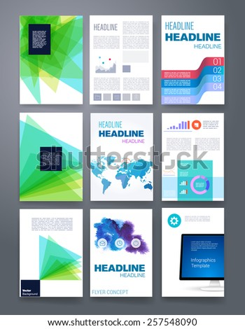 Templates. Vector flyer, brochure, magazine cover template can use for print and marketing. Applications and Infographic Concept. Modern flat design icons for mobile or smartphone.