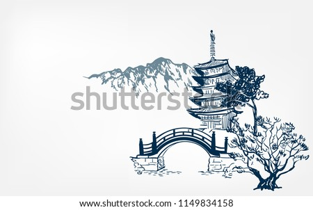 temple card nature landscape