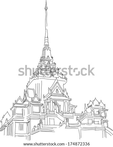 temple free hand sketch