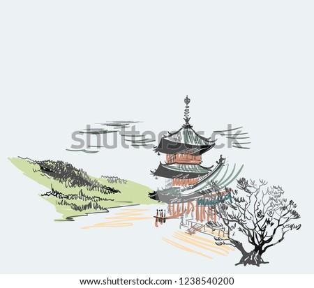 temple nature landscape view