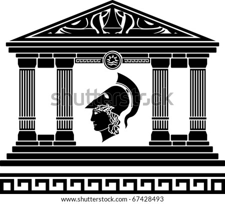 temple of alexander the great. stencil. vector illustration