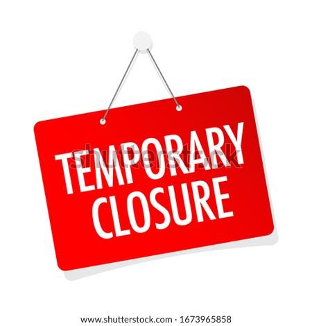 Temporary closure on door sign hanging ストックフォト ©