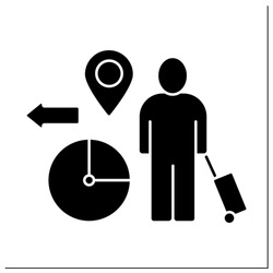 Temporary migration glyph icon. Timely relocation. Searching for job. Earnings. Forced movement abroad. Reste migration concept.Filled flat sign. Isolated silhouette vector illustration