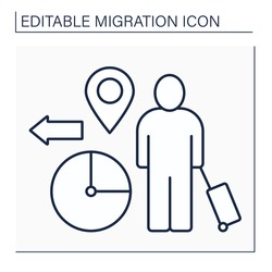 Temporary migration line icon. Timely relocation. Searching for job. Earnings. Forced movement abroad. Reste migration concept. Isolated vector illustration. Editable stroke