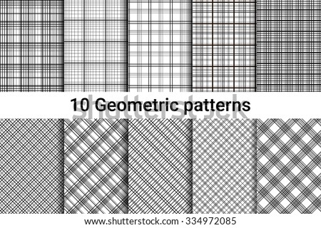 ten abstract seamless patterns black and white colors horizontal vertical and diagonal lines